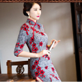 2017 new fashion Women's Retro High split Cheongsam Qipao Long Evening Dress M-3XL Chinese Oriental Dresses Traditional Velvet