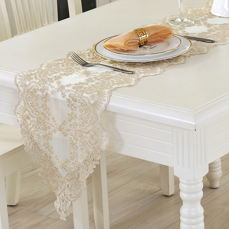 Hot New European Style Table Runner White Lace Table Runner Luxury Dinning Tea Table Cloth Wedding Table Decoration Home Textile