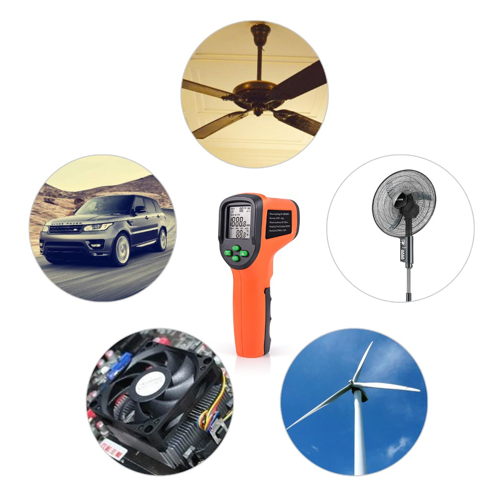 Image 2 - FOSHIO Tachometer 10 99999 RPM Meter Digital Laser Gauges Non contact Photoelectric Auto Tachometers Car Speed Gauge Speedometer-in Tachometers from Automobiles & Motorcycles