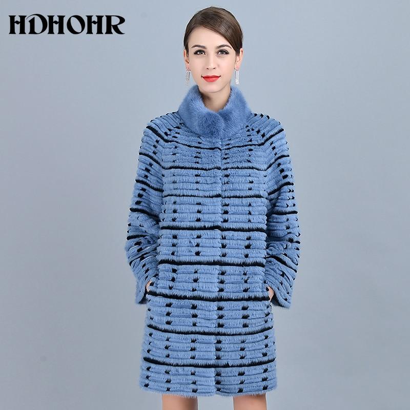 HDHOHR 2019 nouveau manteau de fourrure véritable femmes manteaux de fourrure de vison naturel avec Point de vague en cuir véritable trois couleurs mode fourrure dame veste