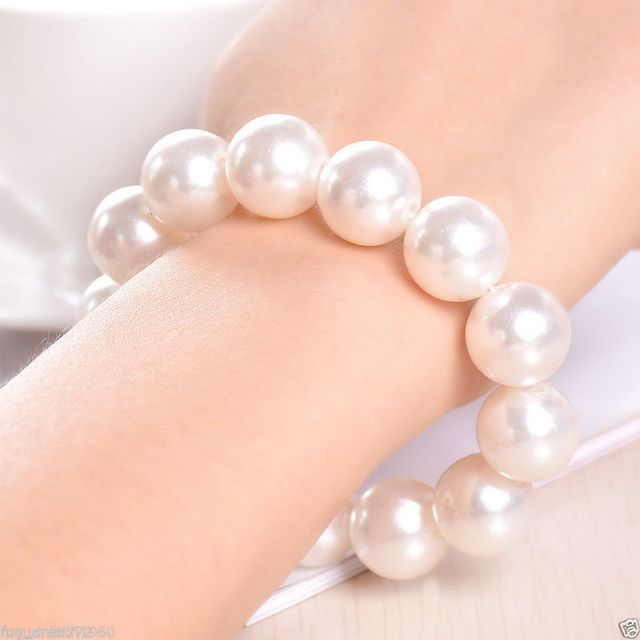 Whole Price 16new 14mm Genuine White Mother Of Pearl Bracelet Women Jewelry