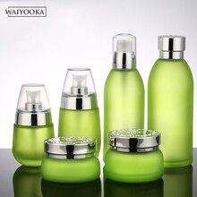2019 di Modo di Verde della Macchia di Vetro Bottiglia Riutilizzabile Trucco Bottiglia di Vaso Spogliatoio Tavolo Organizzatore Cura Della Pelle Strumenti di Stoccaggio Per La Crema di BB