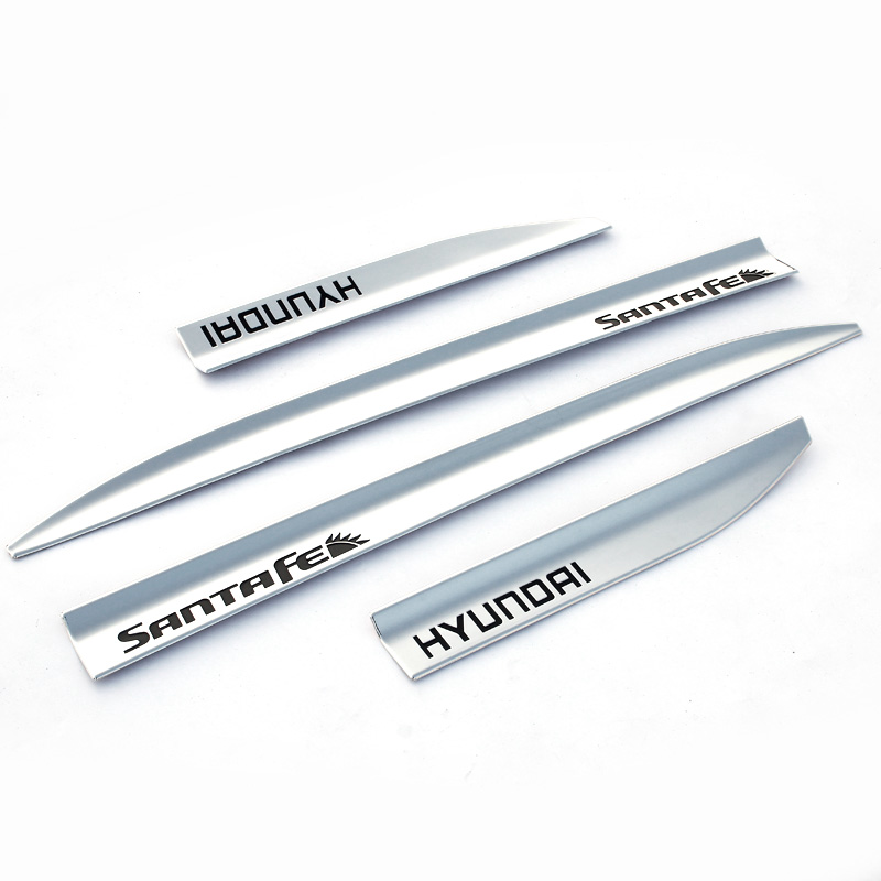 High quality Stainless steel Scratch Side Door Body Molding Trim 4pcs for 2013-2016 Hyundai Ix45 Santafe  high quality abs chrome decoration interior garnish molding kit 17pcs for hyundai 2013 2016 santafe make in korea accessories