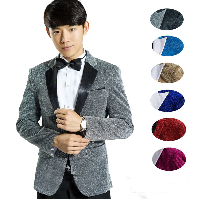 Bright silk male master Bright silk Dresses Stage Costumes Men terno Suit MC Host Clothi ...