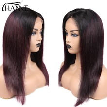 HANNE 4*4 Lace Closure Wigs #1B/#99J Ombre Remy Human Hair With Baby Straight 150% Density Brazilian Wig in Stock