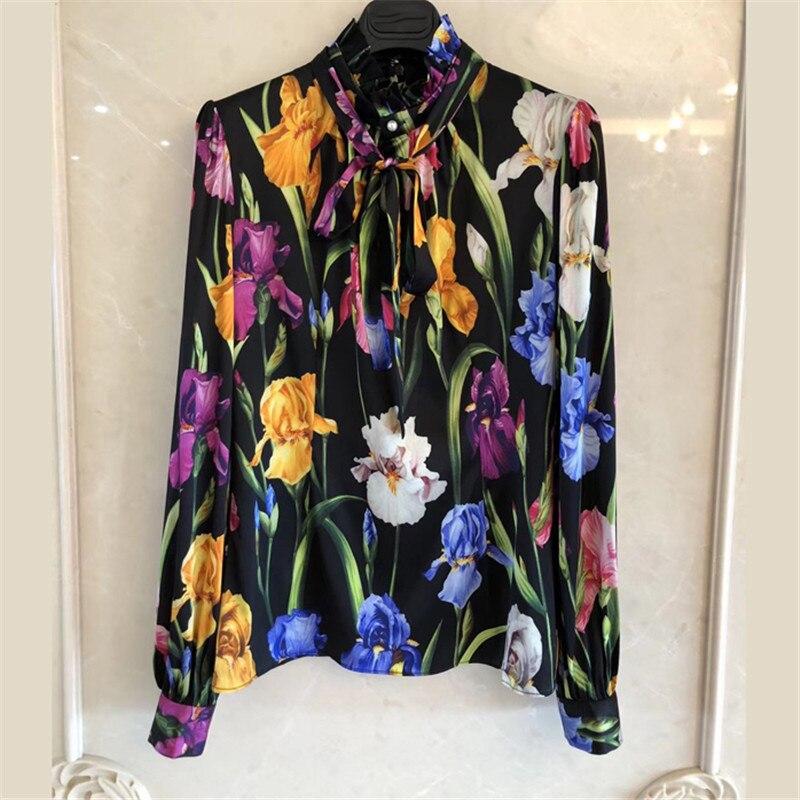 Рубашки с принтом для Для женщин с длинным рукавом модные шелковые Высокое качество блузки 2018 Новый Воме шифон Повседневное рубашки