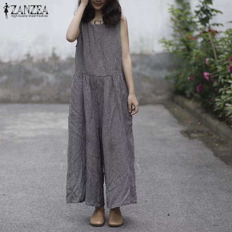 2019 ZANZEA Women Summer O Neck Sleeveless Plaid Check   Jumpsuits   Casual Cotton Linen Overalls Loose Wide Leg Rompers Plus Size