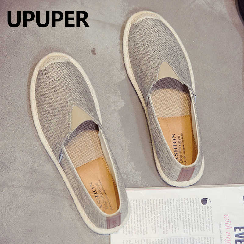 UPUPER Summer Men Canvas Shoes Breathable Men Casual Shoes For Man Slip-On Cheap Hemp Shoes Men Footwear Flats 2019