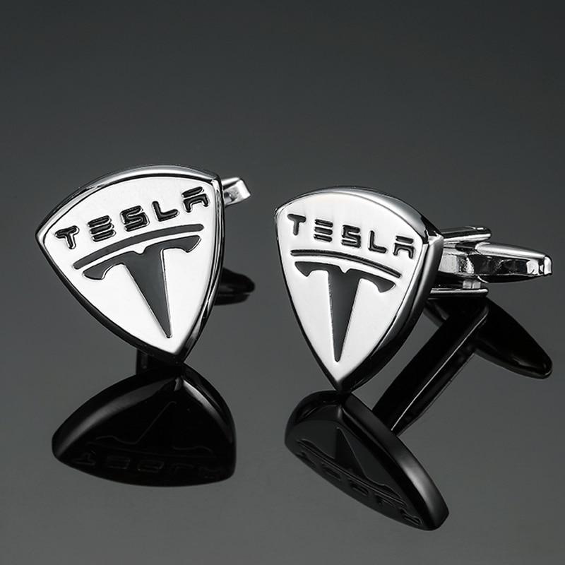 DY The new high-grade luxury Tesla car logo silver shield Cufflinks fashion Mens French shirt Cufflinks free shipping