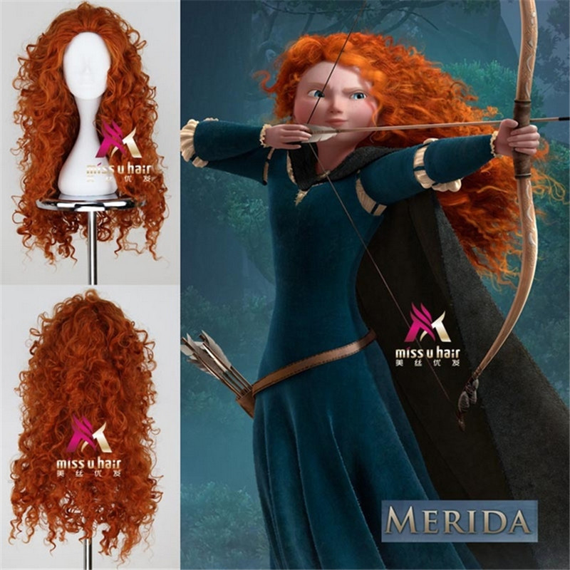 peruca La parrucca no lace Front hair queen La parrucca animated brave movie princess anime big wave long orange curly synthetic sophisticated long black heat resistant synthetic nobby fluffy curly lace front wig for women
