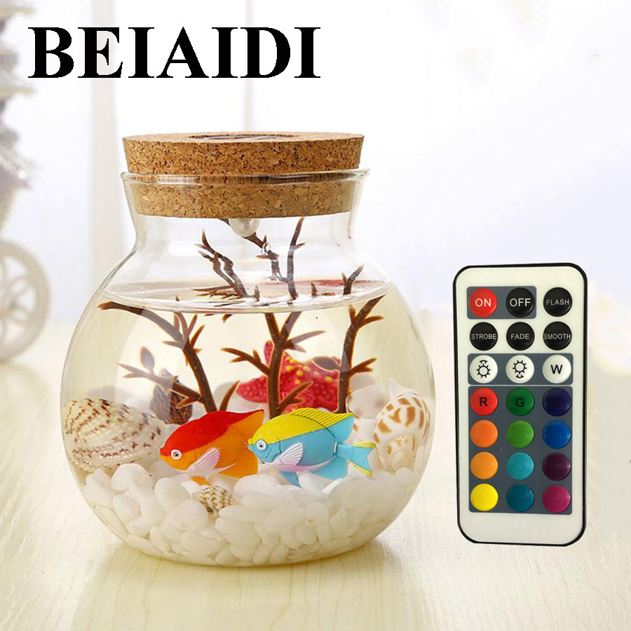 BEIAIDI RGB Wish Bottle LED Night Lamp With Remote Sea Fish Dolphin Stone Ocean DIY Bottle Night Lamps Christmas Gift For Kids 1000mg 100 pcs fish oil bottle for health capsules omega 3 dha epa with free shipping