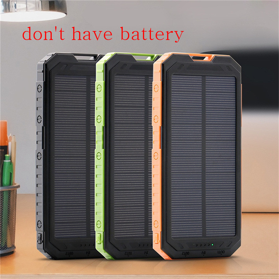 Free Shipping Solar Panel 30000mAh DIY Waterproof Power Bank 2 USB Solar Charger Case External Battery Charger BOX With LED USB diy 5v 2a voltage regulator junction box solar panel charger special kit
