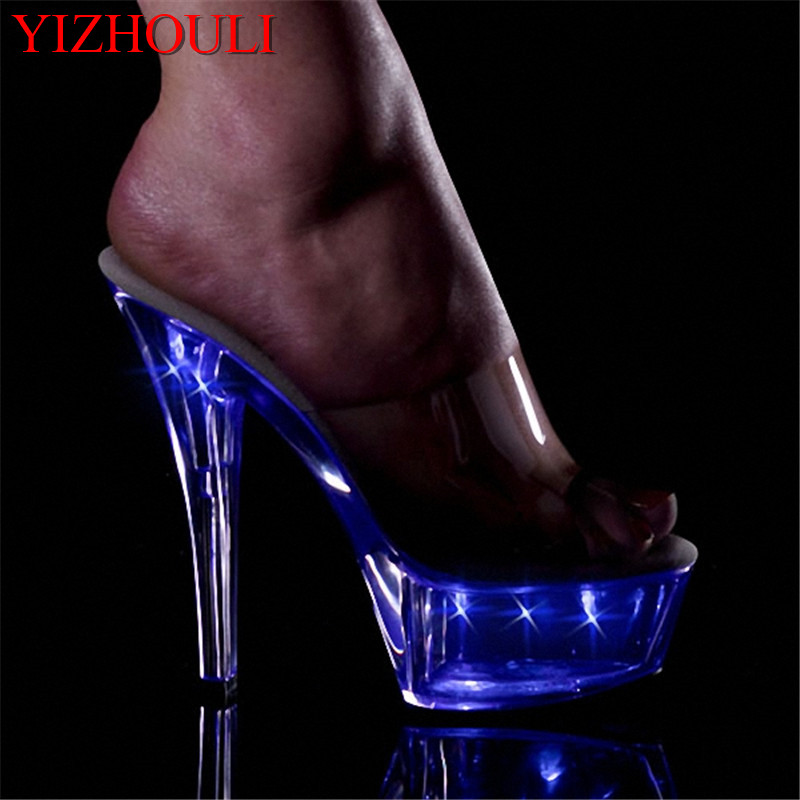 15cm ultra high heels shoes crystal flash lamp shoes 6 inch Sexy womens shoes Exotic Dancer stripper shoes