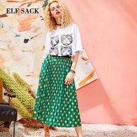 ELF SACK Women Vintage Dot Print Straight Skirt New Summer Design Ladies Casual Knee Length Female Casul Ladies Skirts