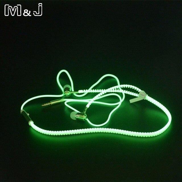 Hot sale ! M&J Glowing Earphone Luminous Light Metal Zipper Earbuds Glow In The Dark For Iphone Samsung Xiaomi MP3 With Mic 1