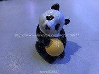 Bejeweled Alloy Enamel Panda Bear Trinket Box with Rhinestone Panda Playing Ball Metal Statue Novelty Small Panda Souvenir