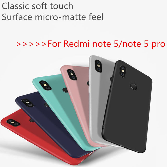 detailed look 2e060 34bf6 US $0.59 |Best selling matte candy silicone case for Redmi note 5 pro soft  TPU case Solid color red white green blue black Pink can choose-in ...