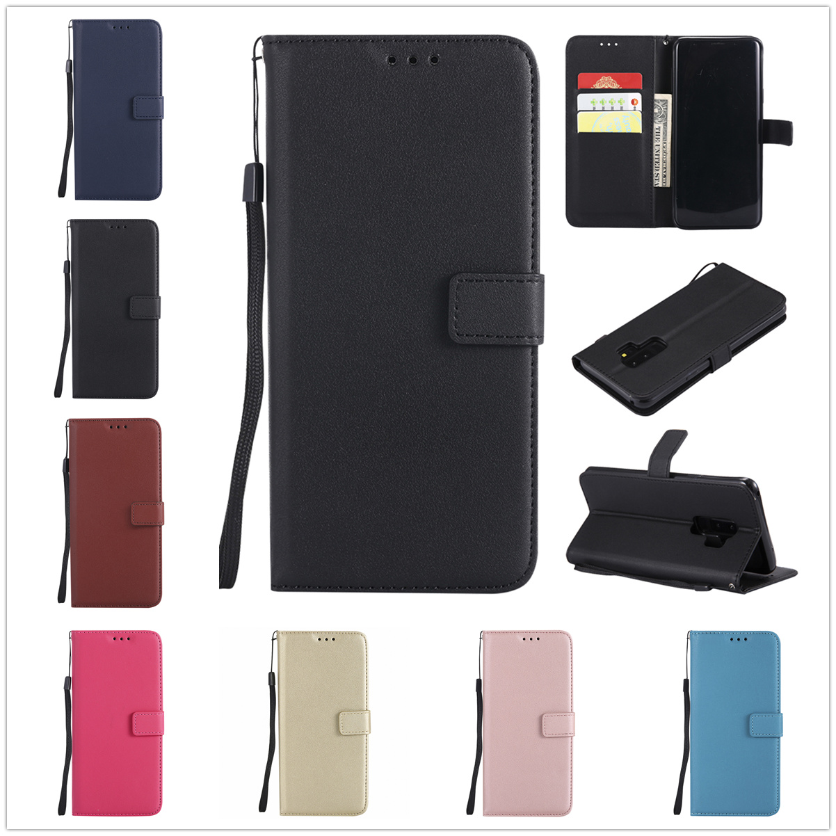 Leather Phone Case For Samsung Galaxy A6 A8 Plus J2 J4 J6 J8 2018 J1 J3 J5 J7 2016 A7 A3 A5 2017 Flip Wallet Card Holder Cover(China)