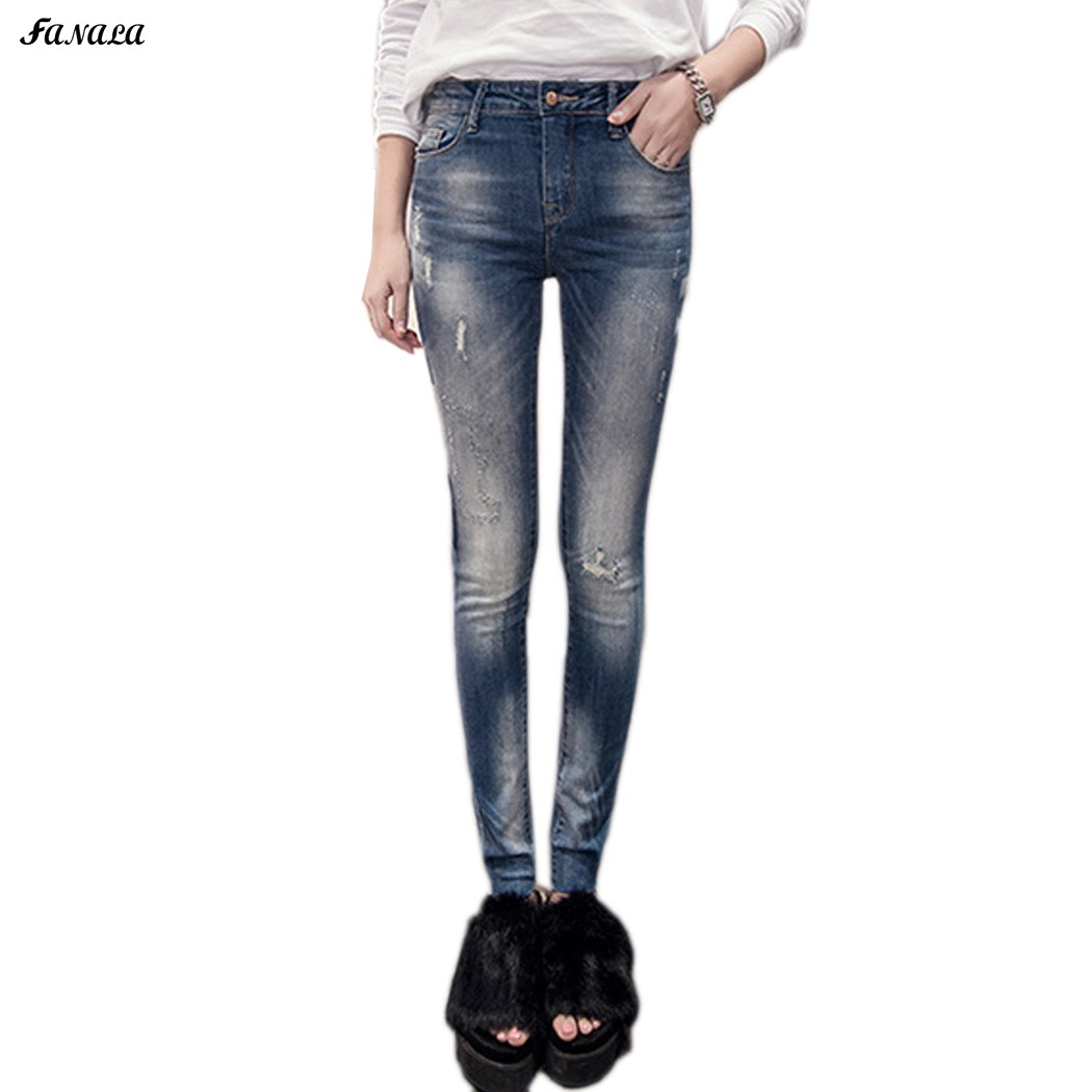Fanala Women Slim Pencil Jeans Vintage High Waist Skinny Denim Jeans Pants Female Sexy Girls Trousers Winter Spring Jeans s 4xl big size high waist capris women sexy skinny jeans female denim capris girls blue jeans maxi jeans female high waist