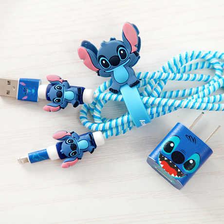 女の子好きな漫画 USB ケーブルとイヤホンプロテクターセットケーブルワインダーステッカースパイラルコードプロテクターのための iphone 5 6 6s