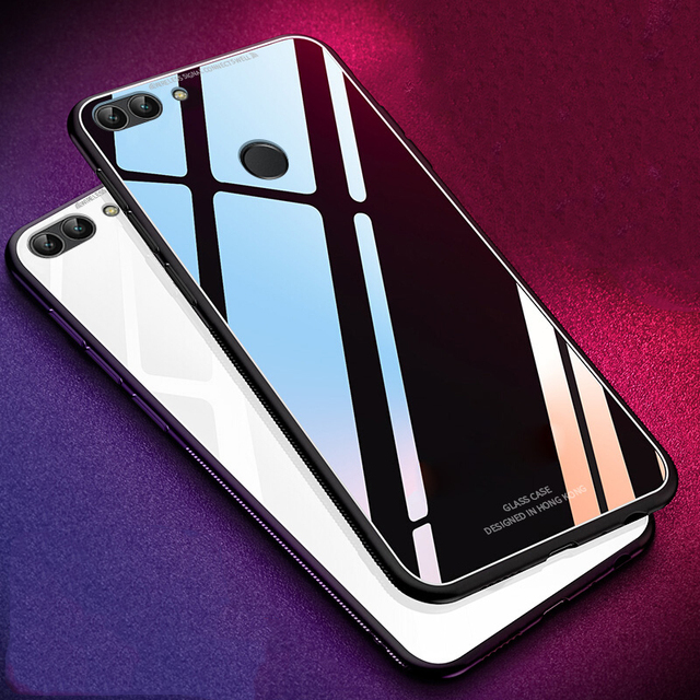 free shipping 94374 c41fc For Huawei Honor 9N Case Luxury Slim Fit Glossy Tempered Glass Silicone  Frame Hard Cover Back Shockproof Housing For Honor 9i