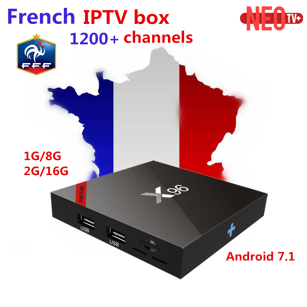 French Arabic iptv box New X96W Android tv box 7.1 Amlogic S905W Quad Core ARM Cortex A53 with 1200 live +VOD smart tv box