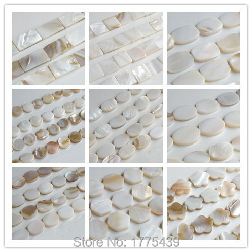 Rectangle Beads Flower Pearl-Shell 39cm-Per-Strand Natural White Square Rounded Oval