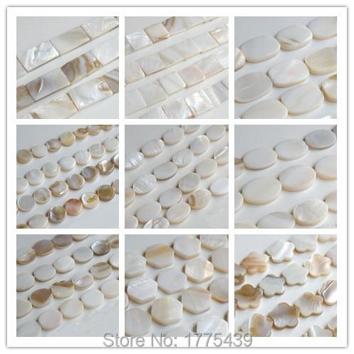 Бусины из жемчуга круглой формы, круглые квадратные, шестигранные, овальные, прямоугольные, белые, около 39 см на нить