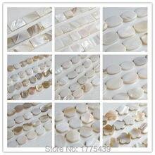Trasporto Libero Bianco Naturale Madre di Perla Borsette Arrotondato Piazza Fiore Hexagon Ovale Rettangolo Beads Circa 39CM Per Strand