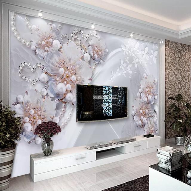 b2df6f227f5c Custom 3D Photo Wallpaper Modern Fine Jewelry Flowers Large Mural Living  Room TV Background Decorative Wall