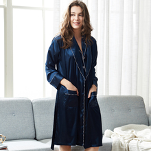 Xifenni Woman Sleeping Robe Sexy Faux Silk Sleepwear Female Long-Sleeve Navy Blue Bathrobes Kimono Elegant SILK 2823