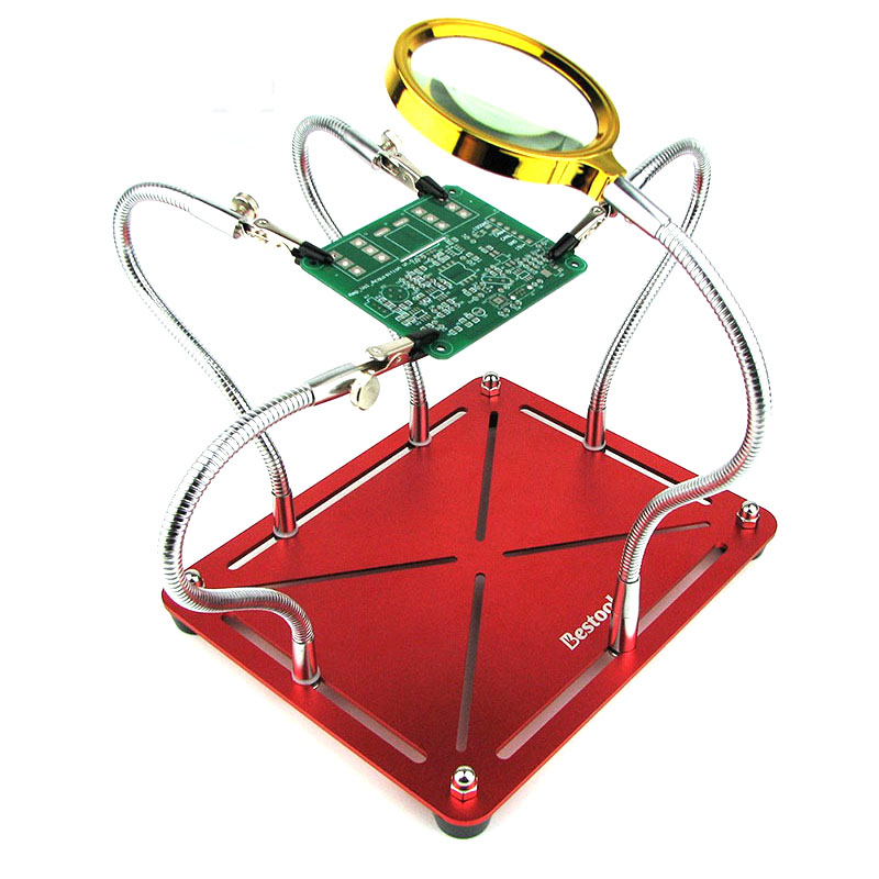 Image 3 - Magnetic Helping Hands Soldering Work Third Hand  Welding Repair Tool  PCB Circuit Board Holder Stand With 4pc Flexible Arms-in Tool Parts from Tools