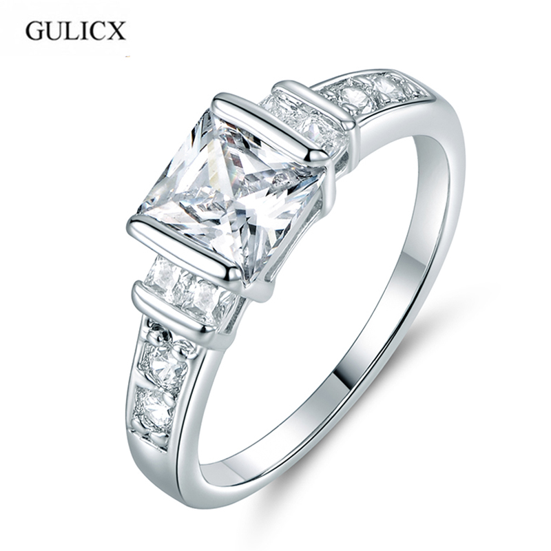 GULICX Brand Simple Fashion Princess Cut Crystal Finger Ring White ...