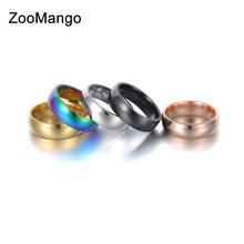 ZooMango Trendy Stainless Steel Rings For Women Men Minimalist Wind Glossy Anniversary Wedding Ring Jewelry Anneau Halka ZR18115(China)
