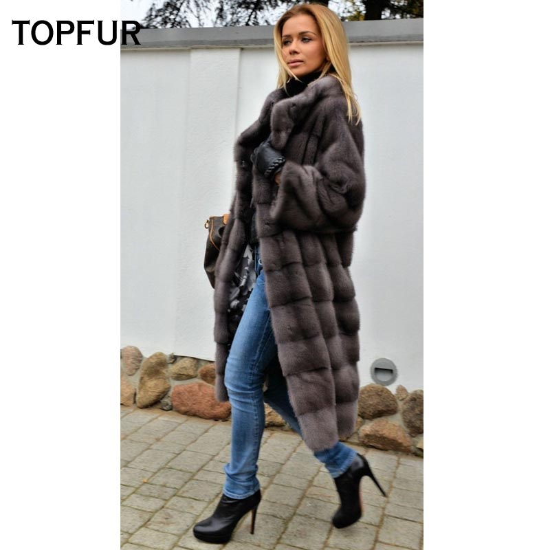 TOPFUR 2018 New Coming Real Mink Fur Coat Women 100 Cm Light Gray Mink Fur Coat Whole Skin Slim Winter Warm Fur Outwear Coat