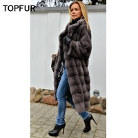 TOPFUR 2019 New Coming Real Mink Fur Coat Women 100 Cm Light Gray Mink Fur Coat Whole Skin Slim Winter Warm Fur Outwear Coat