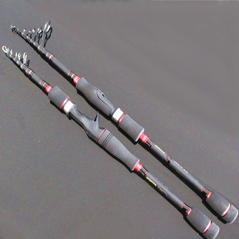 portable telescopic lure fishing rod M high carbon bass rod spinning baitcasting lure 2.1m 2.4m 2.7m free shipping