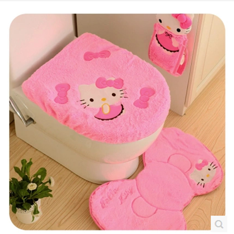Cute hello kitty toilet lid cover, floor mats three-piece, bathroom mats, tissue pumping sets, toiletries