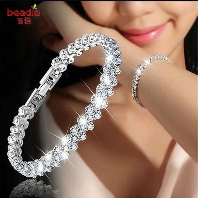 Новая мода 1 шт./пакет Ювелирные изделия Белый и розовое золото цвет Шарм AAA + Кристалл женский браслеты для женщин женские свадебные украшения