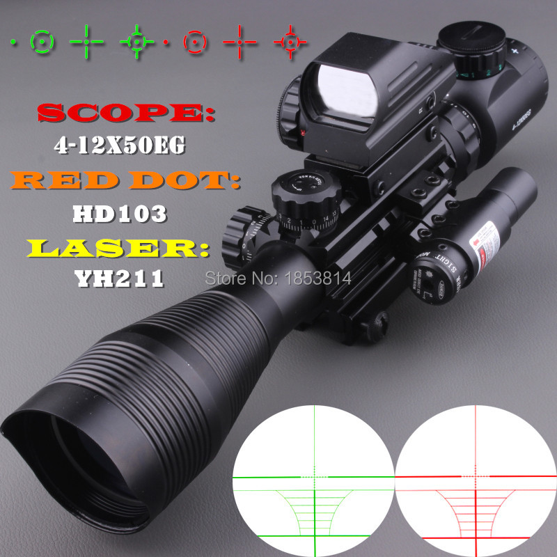 2016 NEW 4-12X50EG Tactical Rifle Scope with Holographic 4 Reticle Sight & Red Laser Combo Airsoft Weapon Sight Hunting shipping from usa tactical 4 12x50 eg rifle scope with holographic 4 reticle sight