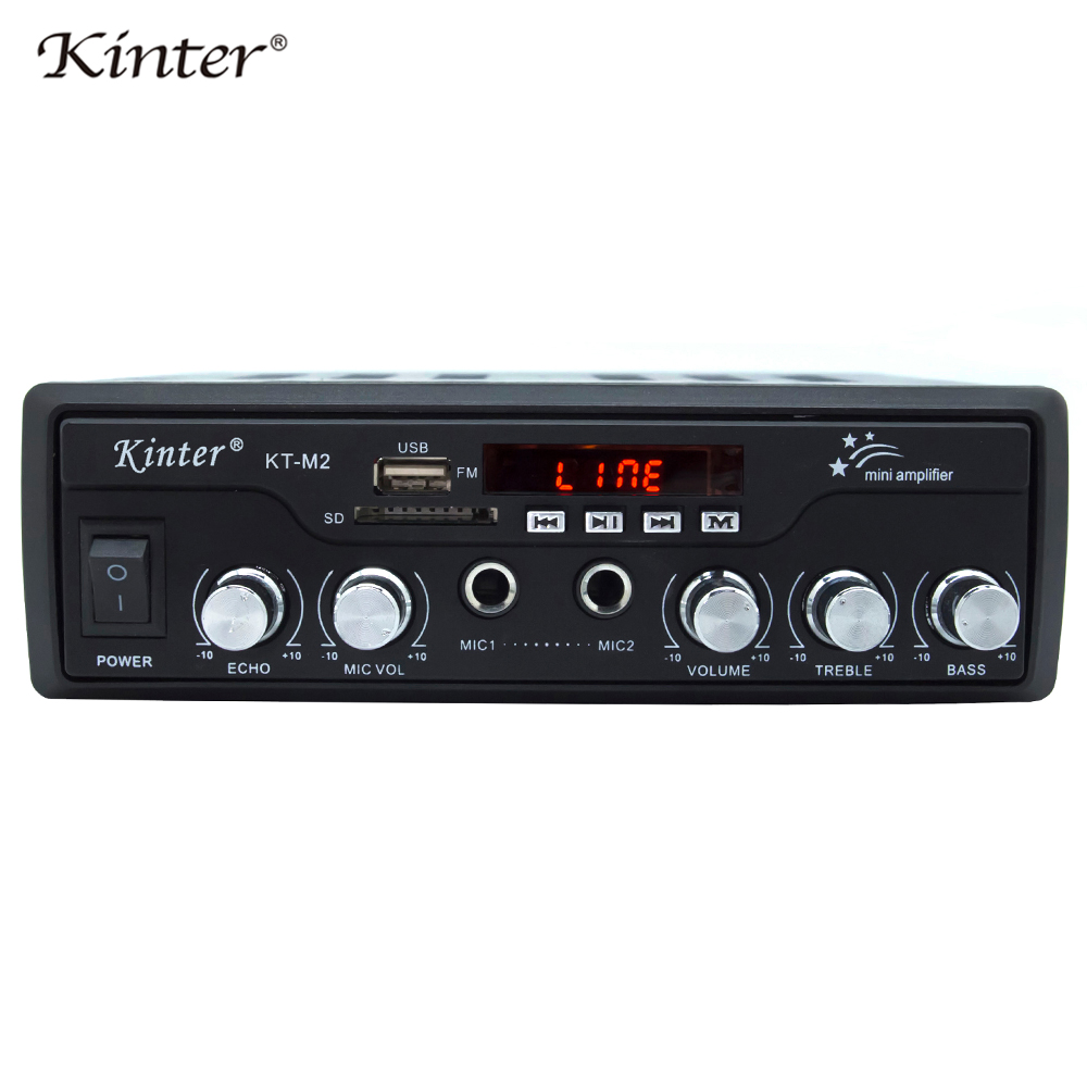 kinter M2 karaoke Amplifier with USB SD AUX FM input play audio and video on TV or other player by 3RCA cable AC220 power supply цена