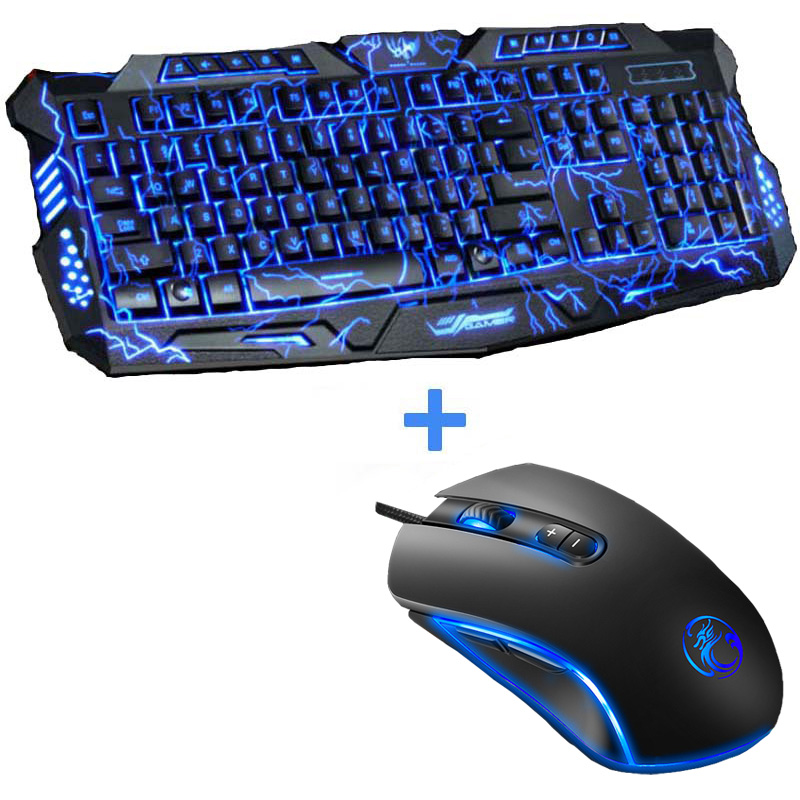 Tri-Color LED Backlit Gaming Keyboard USB Powered Full N-Key Computer Keyboard for PC Laptop+3200 DPI 7 Buttons Pro Gaming Mouse russian version red purple blue backlight led pro gaming keyboard usb wired powered full n key for lol computer peripherals