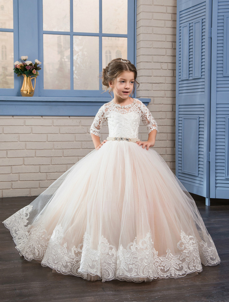 Classic Princess   Dress   Keyhole Back Tulle   Flower     Girl     Dress   For Birthday Christmas Custom Made Half Sleeves   Girls   Pageant Gowns