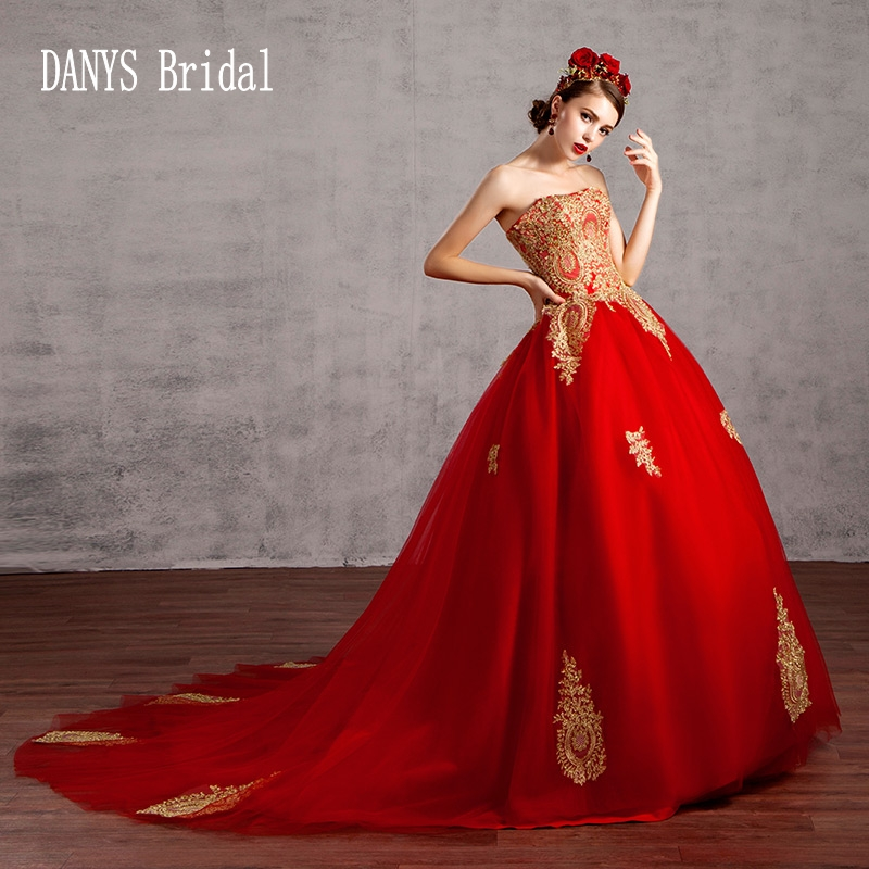Princess Style Wedding Gowns: Ball Gown Red Wedding Dresses 2017 Princess Style