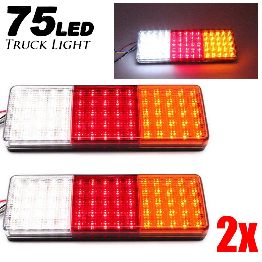 2pcs 12 24V 75 LED Car Truck Rear Tail Light Warning Lights Rear Lamps Waterproof Tailight Parts for Trailer Caravans DC 12V 24V
