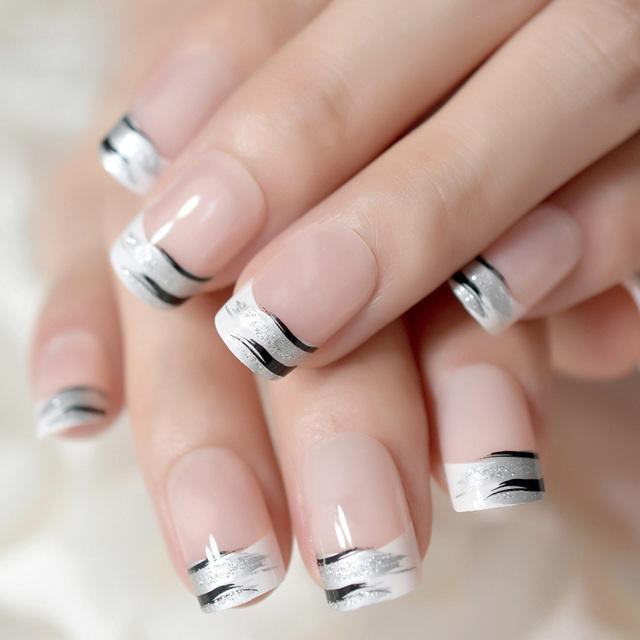Shinning Surface French Nail Art Tips White Squoval Square Medium