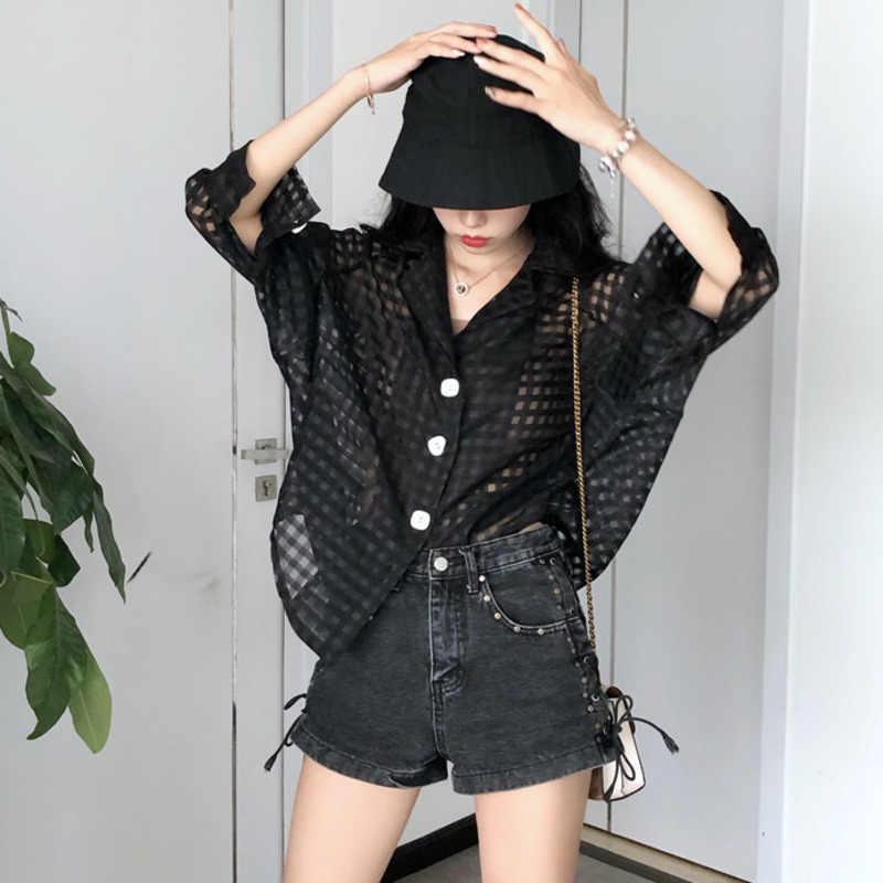 [EWQ] 2019 秋の新 Sweeet 長袖ターンダウン襟中空アウト固体ファッションの女性トレンドシャツ Feminino QK450