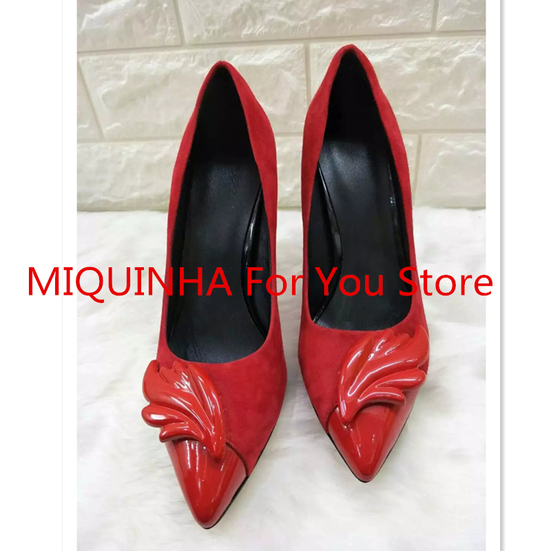 MIQUINHA Luxury Brand Pointed Toe Flame Leaves Decor Women Pumps High Thin Heel Sexy Shoes Super Star Runway Stage Wedding Shoes party runway wedding dress shoes women pointed toe sandals sexy high thin heel lady shoes floral decor butterfly knot pumps