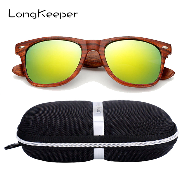 63082b535abb LongKeeper Imitation Wooden Sunglasses with Case Men Mirror Wood Sun glasses  Women UV400 Anti-glare Driving Glasses with Box