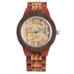 Zegarek męski czarny heban drewniane zegarek mechaniczny automatyczny uzwojenia srebrny cyfry arabskie wybierania zegarki na rękę dla chłopców w Zegarki mechaniczne od Zegarki na